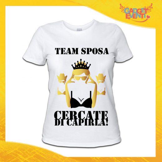 """T-Shirt Donna Bianca Addio al Nubilato Maglietta """"Cercate di Capirla"""" Gadget Eventira Addio al Nubilato Maglietta """"I'm Sorry Guys"""" Gadget Eventi"""