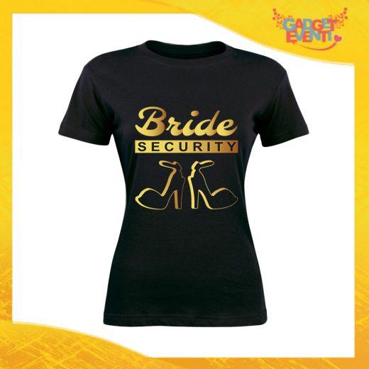 """T-Shirt Donna Nera Addio al Nubilato Maglietta """"Bride Security Team"""" Gadget Eventi"""