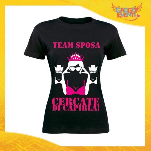 """T-Shirt Donna Nera Addio al Nubilato Maglietta """"Cercate di Capirla"""" Gadget Eventi"""