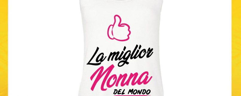 CANOTTA NONNI IL/LA MIGLIOR NONNO/A BIANCO ROSA
