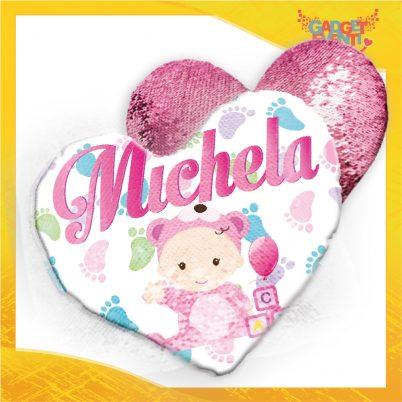 Cuscino cuore paillettes bimba personalizzabile con nome Piedini