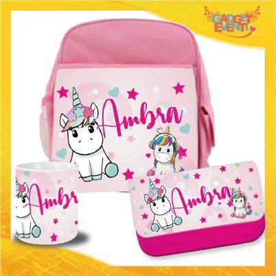 Kit Scuola bimba personalizzato con nome Unicorno