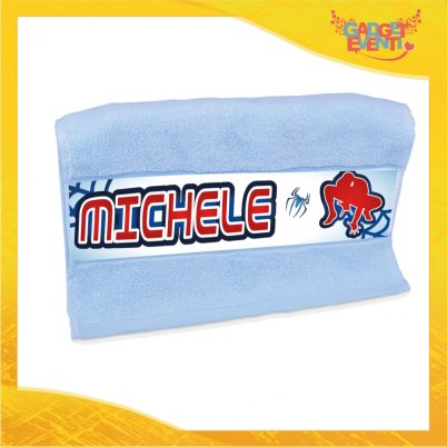 Asciugamano bimbo personalizzata con nome uomo ragno