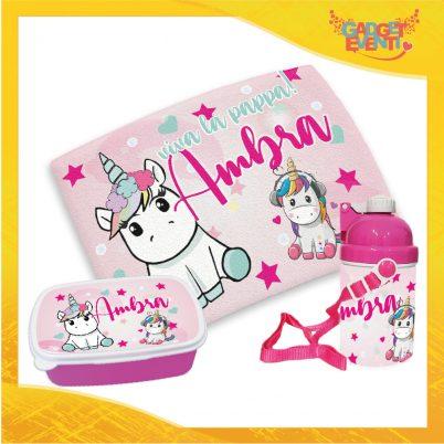 Kit pappa bimba personalizzato con nome Unicorno