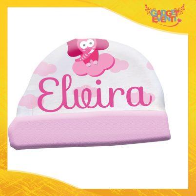 Cappellino bimba personalizzabile con nome Elefantino Nuvoletta