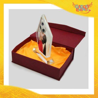 Cristallo a forma di diamante con base e confezioneideato per imprimere foto ricordo.