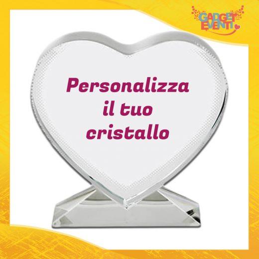 Cristallo a forma di cuore personalizzabile con foto e testi