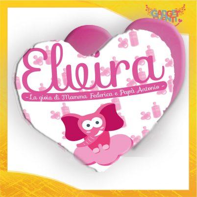 cuscino cuore bimba personalizzato con nome elefantino nuvoletta