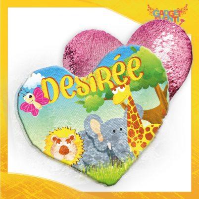 Cuscino cuore paillettes personalizzato con nome Safari