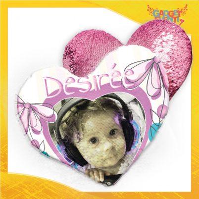 Cuscino cuore paillettes bimba personalizzato con nome Fiorellini