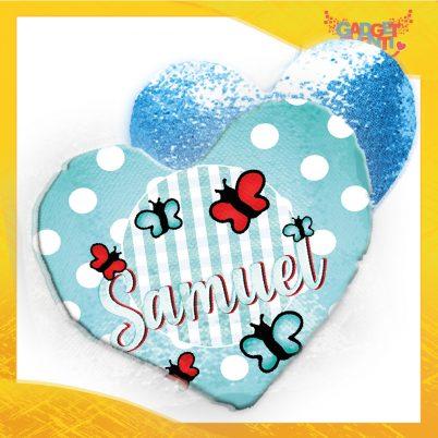 Cuscino cuore paillettes personalizzato con nome Farfalline