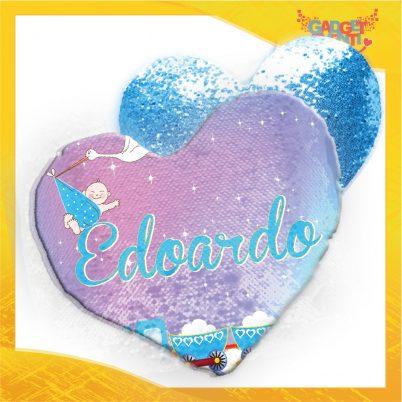 Cuscino paillettes cuore bimbo personalizzato con nome Cicogna