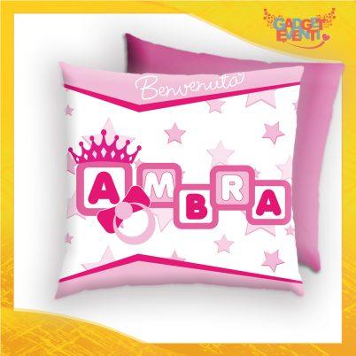 cuscino quadrato bimba personalizzabile con nome dadini