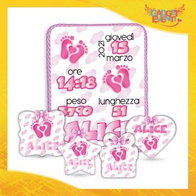 kit quadretto nascita e formine plexiglass bimba personalizzate con nome cuore piedini