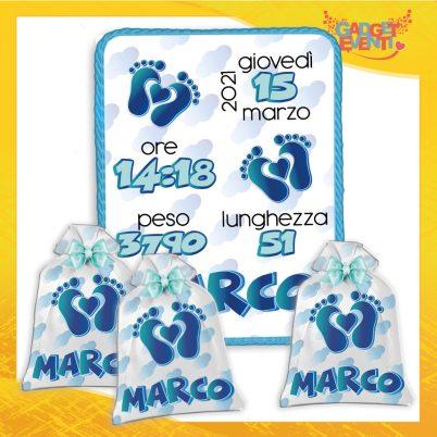 kit quadretto nascita con sacchetto bomboniere personalizzato bimbo cuore piedini