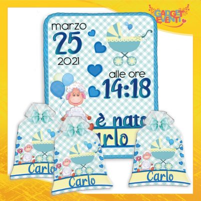 kit quadretto nascita e sacchetto bomboniere personalizzate con nome Pecorella
