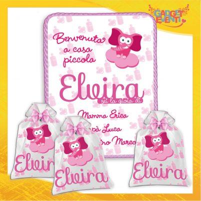 kit quadretto nascita e sacchetto bomboniere bimba personalizzato con nome elefantino nuvolette