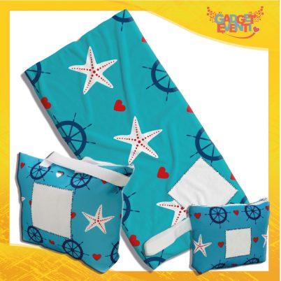 Kit Mare Completo telo, borsa e borsello personalizzato con nome e foto stelle marine e timone