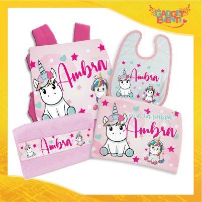 kit asilo bimba personalizzato con nome unicorno